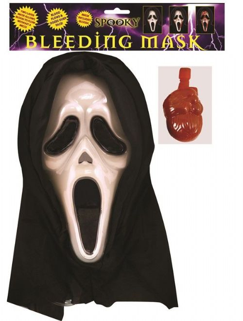 Adult Screaming Mask with Blood for Halloween Movie TV Fancy Dress Costume Accessories